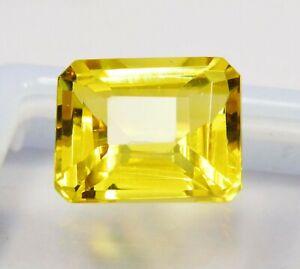 Natural-CERTIFIED-Emerald-Cut-11-Ct-Yellow-Ceylon-Sapphire-Loose-Gemstone