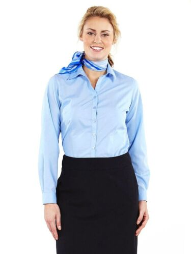 SIMON JERSEY LADIES LONG SLEEVED SMART BLOUSE OFFICE CORPORATE BUSINESS SHIRT