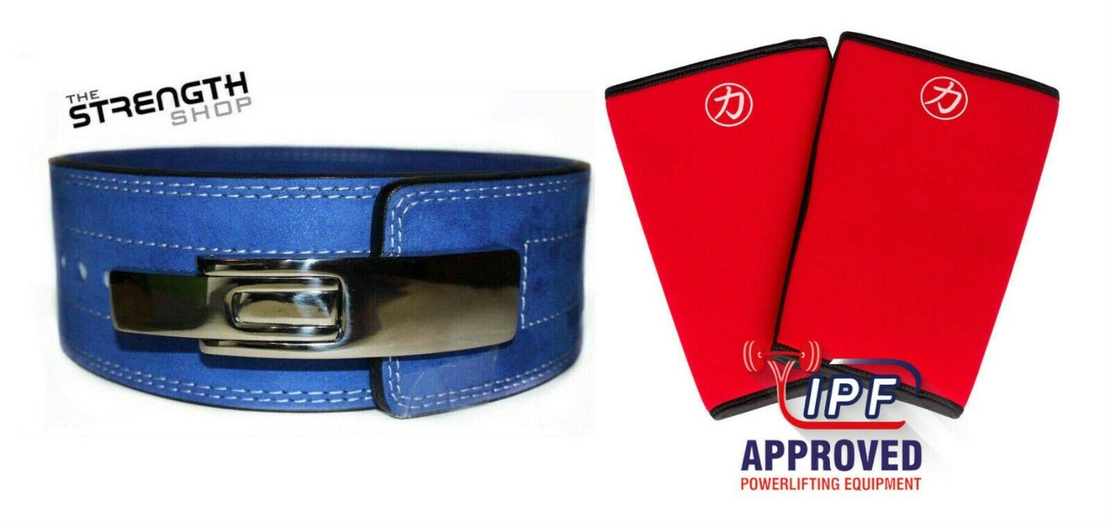 Strength Shop 10MM bleu POWERLIFTING LEVER BELT (grand) + INFERNO Knee Sleeves