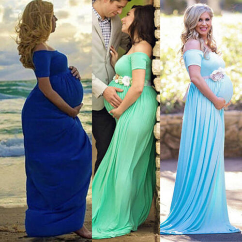 Maternity Maxi Dress Pregnant Women Wedding Party Gown Photography Props Clothes for cheap