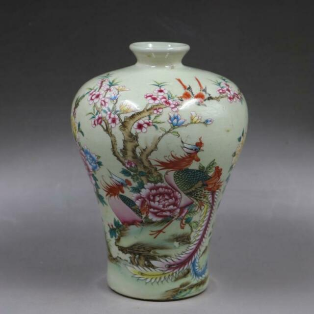 Chinese old porcelain vase Pink Flowers and Birds Rich Tumei Bottle