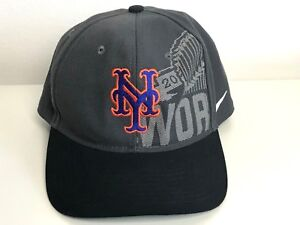 421f602b82ee4 NY Mets Nike 2015 World Series Hat Cap Nice Graphics Gray and Black ...