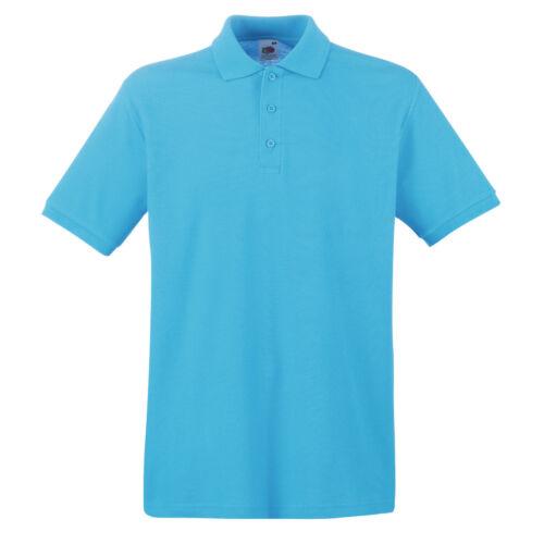 Mens Polo Shirt Premium Cotton Fruit Of The Loom Classic Casual Fit Plain S-3XL