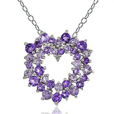 925 Silver 5.1ct African Amethyst, Amethyst & Diamond Cluster Heart Necklace