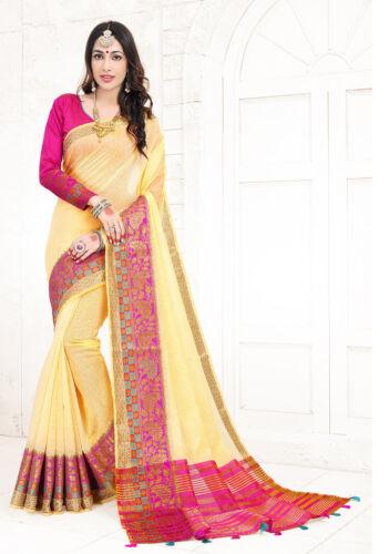 Designer Yellow Weaving Zari Resham Border Sari Silk Party Wear Saree For Women