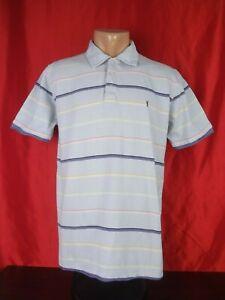 Yves-Saint-Laurent-Mens-L-Large-Polo-Shirt-Blue-Short-Sleeves-Striped-22-034