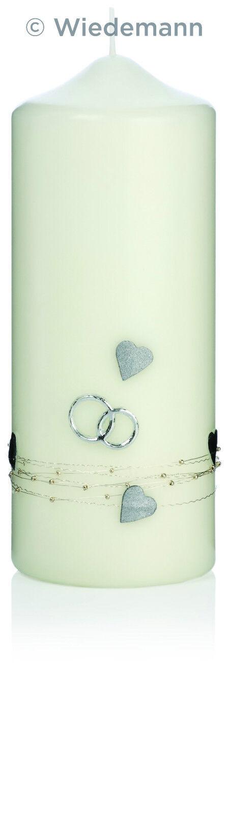 Hochzeitskerze 20x8cm Farbe Elfenbein mit Herzen + Ringen + Kette  Wiedemann