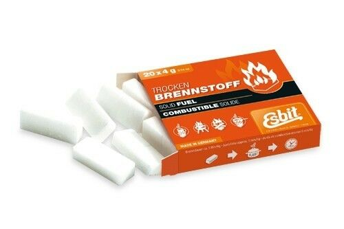 Esbit Solid Fuel Cube Tablets Camping Stove Fire Starter 20pc x 4g E-FUEL-20X4