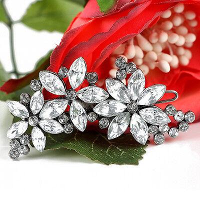 Sweet Girl Women Noble Crystal Flower Barrette Plum Floral Rhinestone Hair Clips