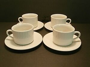 Totally-Today-Dots-amp-Triangles-TT012-Flat-Cups-amp-Saucers-White-Lot-of-4