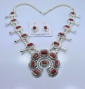 Deep-Red-Coral-Squash-Blossom-Necklace-Earrings-Sterling-Silver