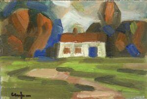 Russischer-Realist-Expressionist-Ol-Pappe-034-Dorf-034-21x14-cm