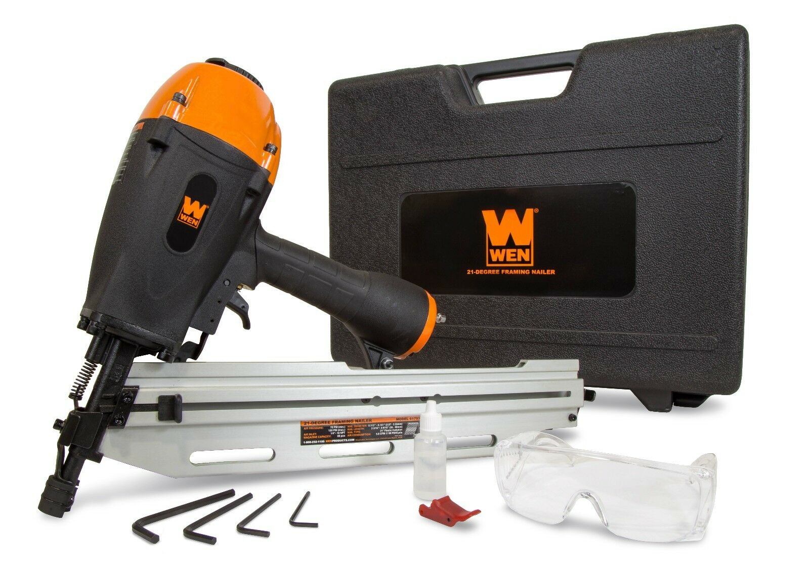 61793 wen_products WEN 61793 21-Degree Pneumatic Framing Nailer with Carrying Case