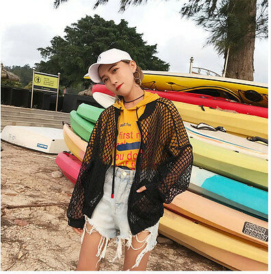 NEW Tops white loose hollow mesh jacket female collar sunscreen jacket Women