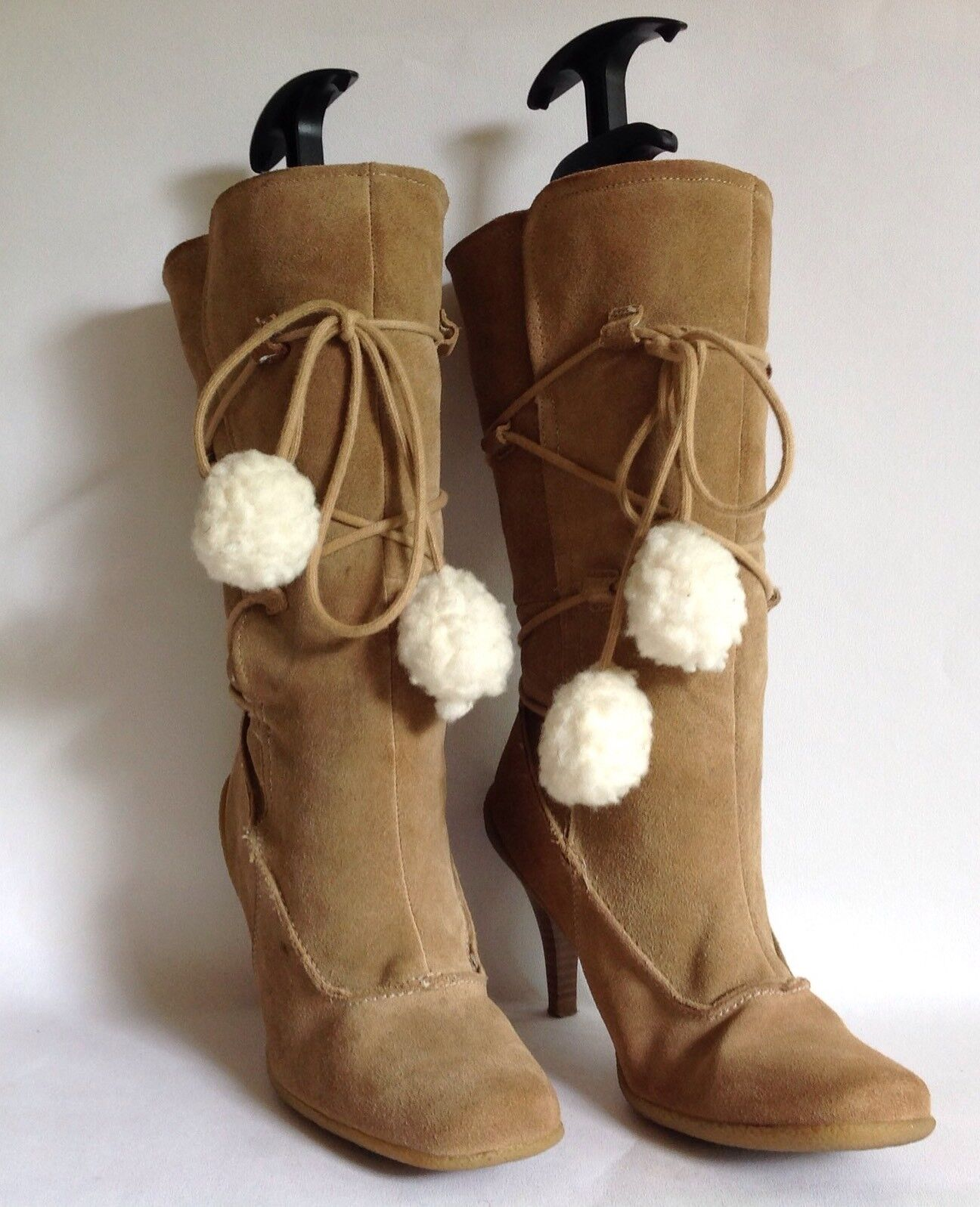 New Look Buff Suede Faux Shearling Lined 4.25  Heel 3 4 Winter Boot UK 4 EU 37