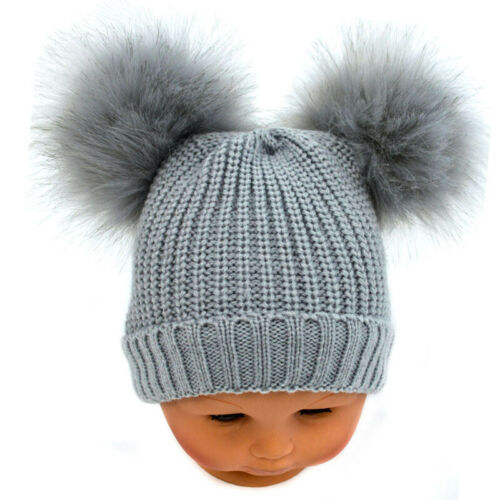 Baby Pom Pom Hat Grey Knitted 2 Large Furry Pom Poms NB-12 Months by Soft Touch