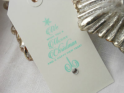 10  White We Wish You A Merry Christmas Gift Tags   Turquoise ink Handmade