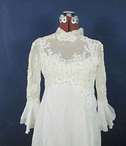 Details About Vintage 1970 S Wedding Dress Xs