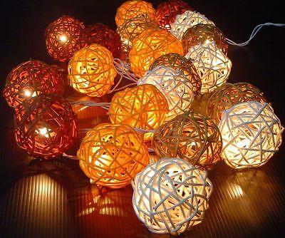 New Solar Power LED Autumn Browns Rattan Ball Fairy Light 8 Meter Outdoor Lights