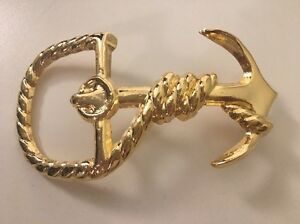 Boat Ship Anchor with Rope Belt Buckle Gold-Tone Nautical Theme Unisex