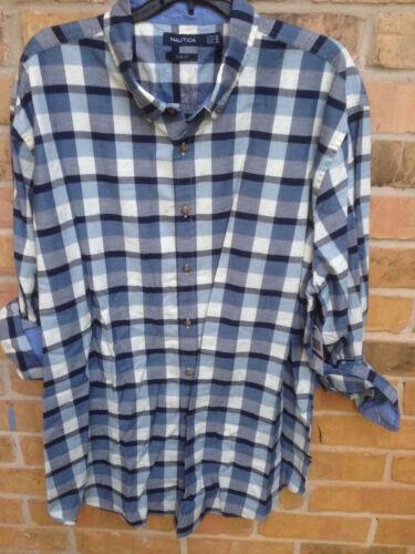 NWT Men/'s Nautica Slim Fit Seedpearl Plaid Shirt Stripe Cotton Size XXL 2XL