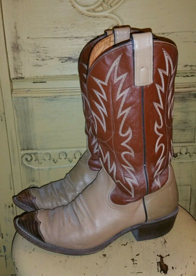 Vintage Texas USA 2 Tonos Cuero Marrón Vaquero Occidental botas 9 EE Rodeo SNIP Toe