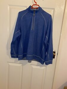 """Herren Tommy Bahama Pullover 1/4 Zip Pullover Top 48"""" Brustumfang DESIGNER blau TB Jeans"""