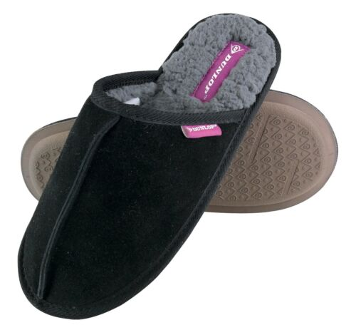 Ladies Warm Slip On Fluffy Fur Cosy House Mule Suede Slippers DUNLOP