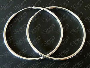 925-Sterling-Silver-Hoop-Earrings-Classic-Sleeper-Large-Endless-Hoops-30mm-35-mm