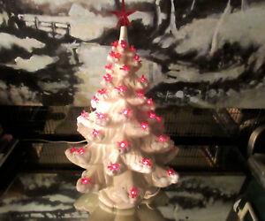 Details About Vtg Ceramic Christmas Tree Lights Birds Rare Valentine Red White Rare Tall Music