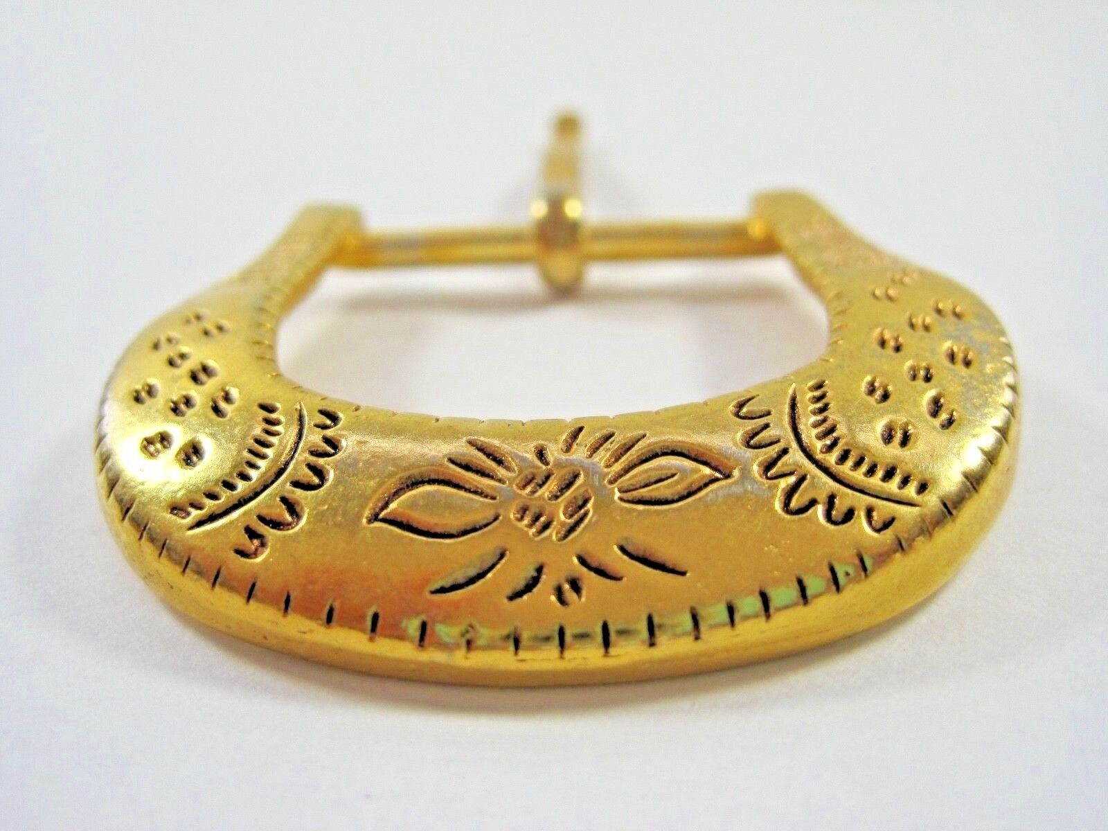 Gold Tone Plated Ladies Floral Belt Buckle Etched Design Lines Spots Scalloped