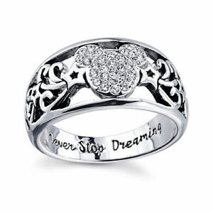 image is loading disney mickey mouse never stop dreaming austrian crystal - Mickey Mouse Wedding Ring