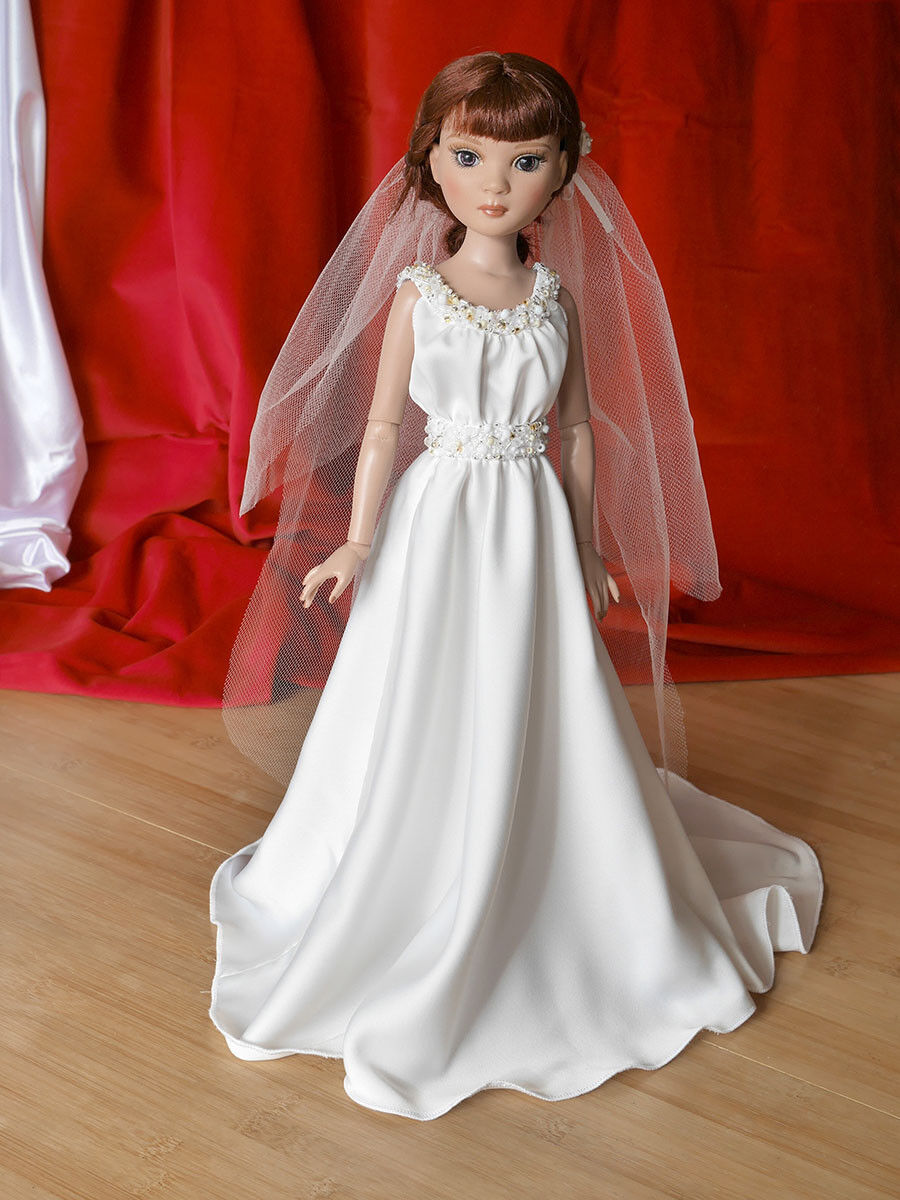 Bridal gown gown gown with bead embroidery and veil for 16inch doll as Ellowyne Prudence aea5db