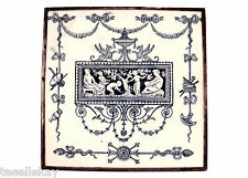19thc JOSIAH WEDGEWOOD & SONS Etruria Blue & White Classical Scene Ceramic Tile