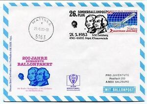 1983 Sonder Ballonpost N. 26 Pro Juventute Aerostato Oe-dze Alpi Mattse
