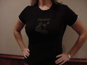 VERY SEXY Pittsburgh Steelers Women s Sz Lg Black Reebok T-Shirt ... ee3b8ad5a
