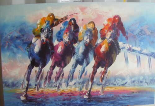 """COLOURFUL HORSE RACING ART OIL PAINTING 24X36/"""" STRETCHED"""