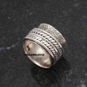 925-Sterling-Silver-Spinner-Ring-Wide-Band-Ring-Meditation-Handmade-Jewelry-PQ8