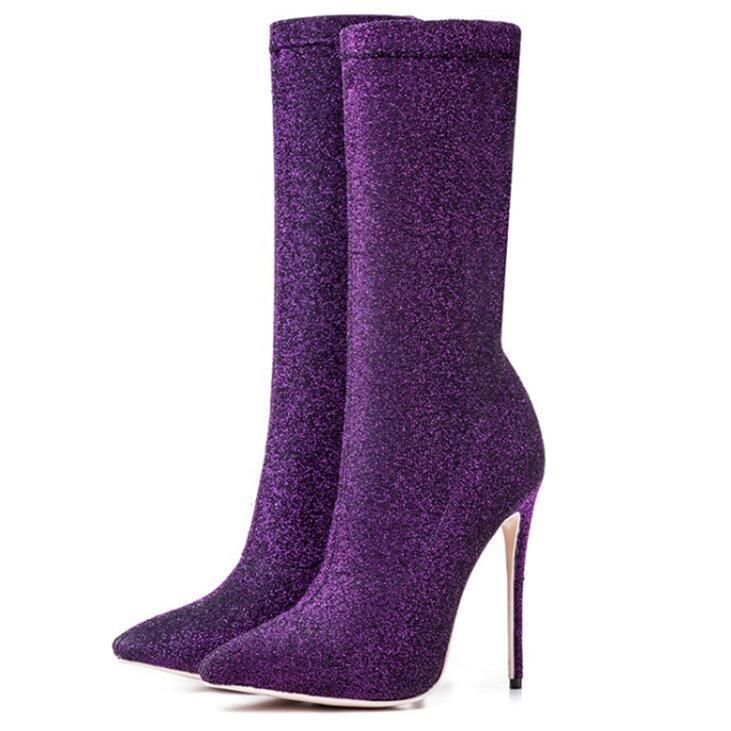 Sexy viola Wouomo Shiny Mid Calf stivali Pointed Toe Stiletto Pull on scarpe NEW