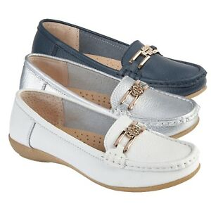 Ladies-Leather-Moccasins-Loafer-Office-Work-Pumps-Womens-Diamante-Flat-Shoe-Size
