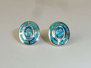 Damen-Art-Deco-Sterling-Silber-feine-Opal-amp-Aquamarin-Ziel-Design-Ohrringe