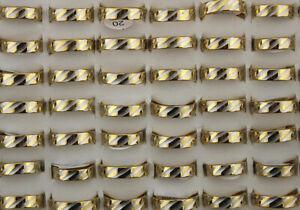 60stk-Neu-Grosshandel-Lots-Modeschmuck-Edelstahl-Ring-Herren-Vergoldet-Ringe
