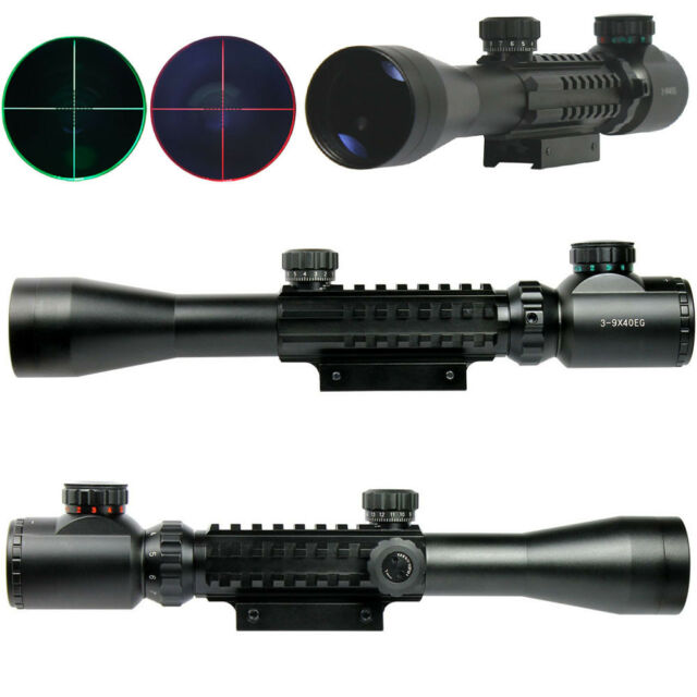 3-9x40 Tactical Rifle Scope Red & Green illuminated Mil Dot Optical Gun Scope