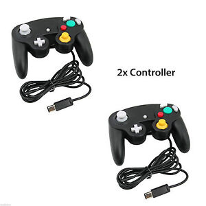 2X-BLACK-WIRED-CLASSIC-CONTROLLER-JOYPAD-GAMEPAD-FITS-NINTENDO-GAMECUBE-GC-amp-Wii