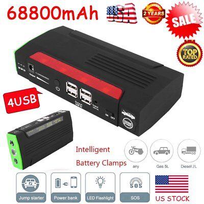 68800mAh 4USB Car Jump Starter Booster Portable Battery Charger Power Bank New M