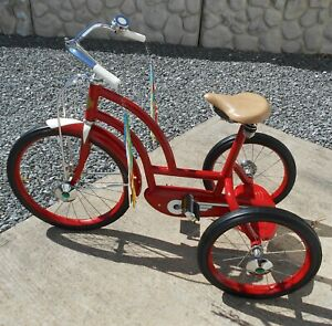 COLSON-VINTAGE-DUAL-BEAM-CHAIN-DRIVE-RED-TRICYCLE-ELYRIA-OHIO-RESTORED
