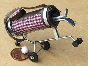 1-12-Massstab-Weinrot-Kariert-Golf-Caddy-amp-Clubs-Garten-Sport-Trolley-Zubehoer