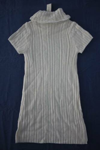 NEW Girls Sweater Dress Size Medium 7-8 Knit  Winter White Acrylic Cowl Neck