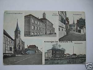 AK-Knielingen-1919-Kirche-Schule-Fruehmessstrasse-Bahnhof