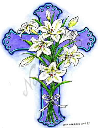 Easter Lily Cross Wood Mounted Rubber Stamp Northwoods Stamp P9020 New
